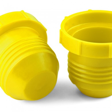 Yellow threaded plastic plugs